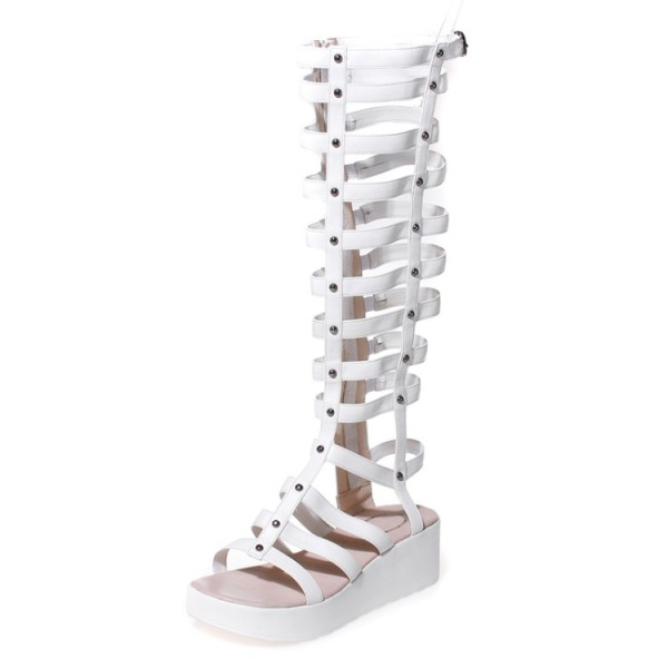Women's White Rivets Wedge Heels Gladiator Sandals by FSJ Shoes image 1