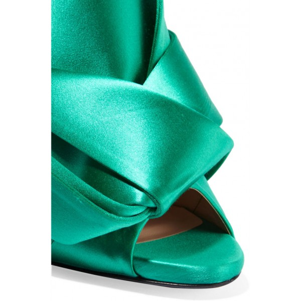 Turquoise Talons Noeud Satin Open Toe Mule Sandales pour Prom image 5
