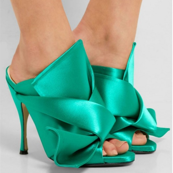 Turquoise Talons Noeud Satin Open Toe Mule Sandales pour Prom image 2