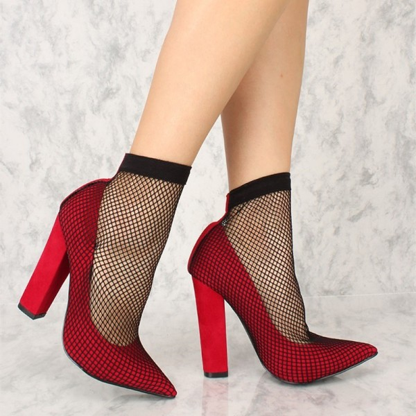 Rouge Chunky Talons Pointu Toe Sexy Mesh Pompes US Taille 3-15 image 3