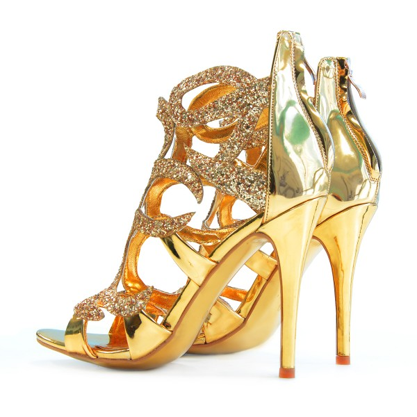 Gold Evening Shoes Cage Sandals 5 Inches Stiletto Heels Glitter Shoes image 5