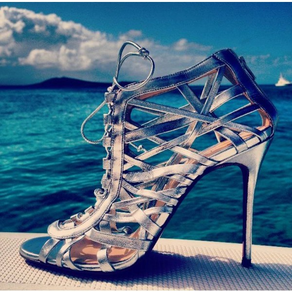 Phoebe Silver Wrapping Cage Peep Toe Talons à lacets Sandales Stilettos image 1