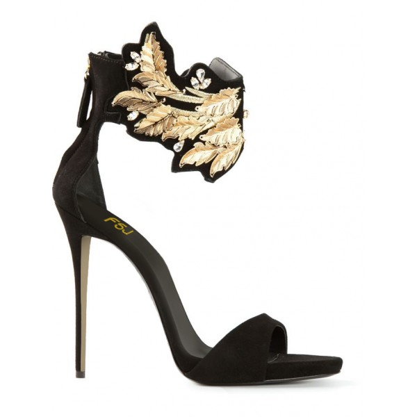 Black and Gold Evening Shoes Ankle Strap Stiletto Heels Suede Sandals image 3