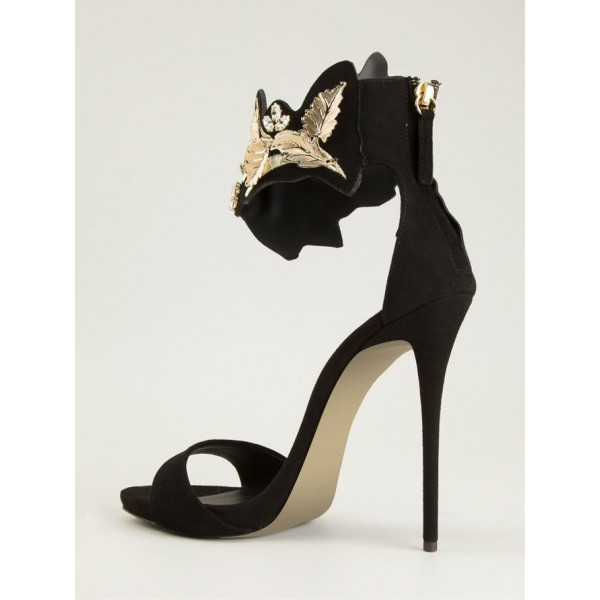 Black and Gold Evening Shoes Ankle Strap Stiletto Heels Suede Sandals image 2