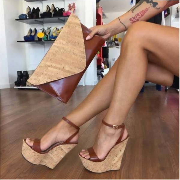 Tan Wedges Sandals Ankle Strap Slingback Open Toe Platform Sandals image 1