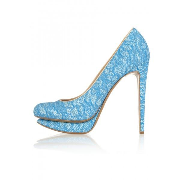 Light Blue Bridal Heels Lace Platform Pumps for Wedding image 2