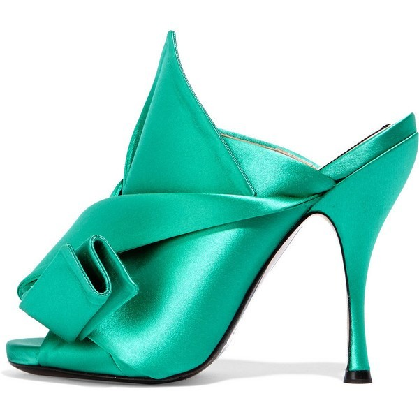 Turquoise Talons Noeud Satin Open Toe Mule Sandales pour Prom image 1