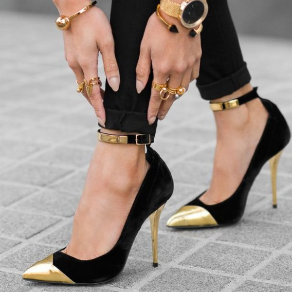 Black and Gold Ankle Strap Heels Stilettos Pumps Metallic Heels image 1