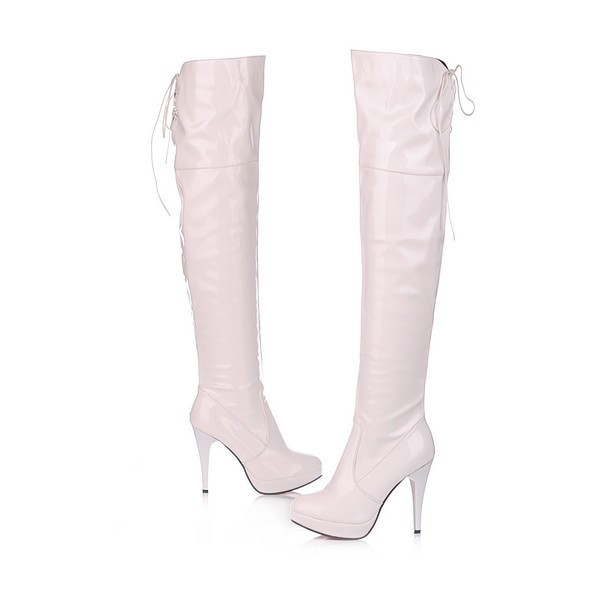 Bottes à lacets en cuir verni Stripper Shoes Ivory image 1