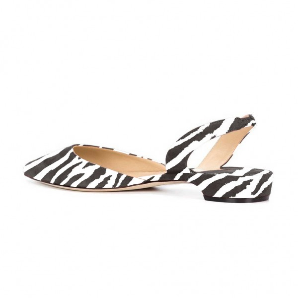 Zebra Slingback Shoes Pointy Toe Appartements confortables image 2