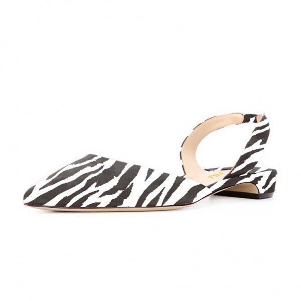 Zebra Slingback Shoes Pointy Toe Appartements confortables image 1