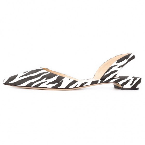 Zebra Slingback Shoes Pointy Toe Appartements confortables image 3