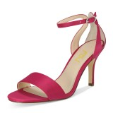 Red Satin Ankle Strap Dress Shoes Open Toe Stiletto Heels For Prom