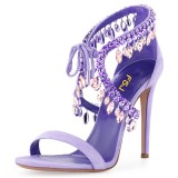 Lavender Crystal Evening Shoes Stiletto Heel Sandals