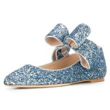 Blue Glitter Bow Pointy Toe appartements confortables