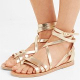 Gold Gladiator Sandals Open Toe Summer Strappy Sandals