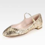 Mary Jane Shoes Paillettes Dorées Talons Chunky Chaussures Scolaires En Strass