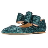 Green Glitter Bow Pointy Toe Comfortable Flats