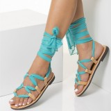Nude Gladiator Sandals Cyan Scarves Beach Strappy Sandals