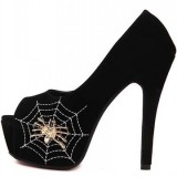 Spider Man Black Suede Floral Web Peep Toe Platform Pumps for Halooween