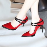 Vampire Red Pointy Toe Suede Double Pompe Strap Pompes Pour Halloween Pour Femmes