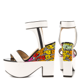 White and Black Wedge Sandals Floral Printed Ankle Strap Shoes