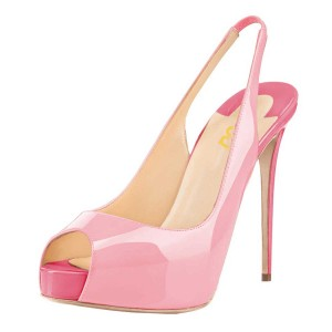 Pink Stiletto Heels Peep Toe Patent Leather Platform Slingback Pumps