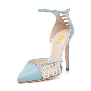Light Blue Pointy Toe Ankle Strap Heels Hollow Out Stiletto Heel Pumps