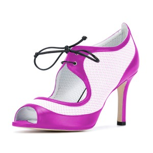 Women's Orchid and White Peep Toe Heels Lace Up stiletto Heel Pumps