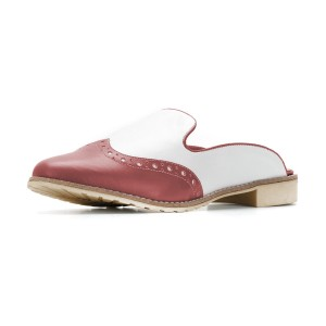 FSJ Tan and White Vegan Leather Wingtip Flats Loafer Mules for Women