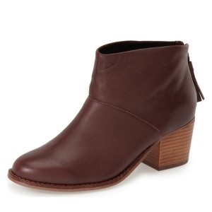 Women's Maroon Tassels Zipper Commuting Chunky Heels Ankle Booties