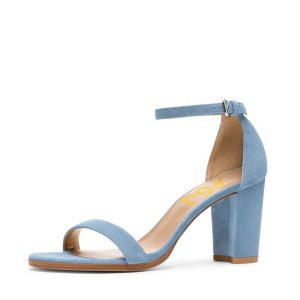 Light Blue Suede Ankle Strap Sandals Open Toe Chunky Heel Sandals