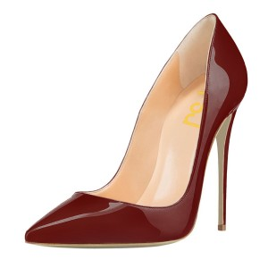 Maroon Stiletto Heels Patent Leather Pointed Toe Office Heels