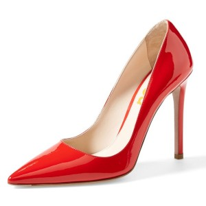 Red Patent Leather Office Heels Pointy Toe Stiletto Heel Pumps