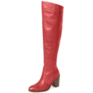 Red Knee Boots Round Toe Fashion Chunky Heel Boots by FSJ