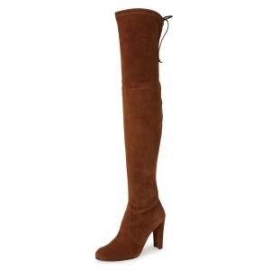 Brown Long Boots Chunky Heel Thigh-high Boots for Women
