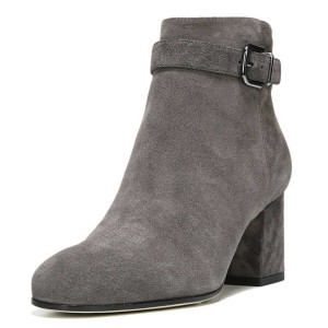 Grey Chunky Heel Boots Round Toe Suede Short Ankle Boots