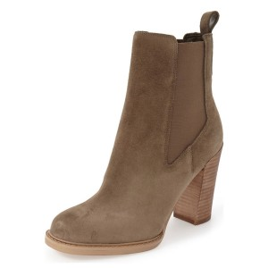 Women's Brown Suede Chelsea Boots Commuting Wooden Chunky Heels Boots