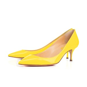 Yellow Kitten Heels Patent Leather Pointy Toe Pumps Office Heels