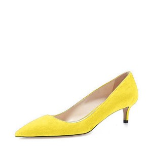 Yellow Kitten Heels Pointy Toe Suede Pumps Office Shoes