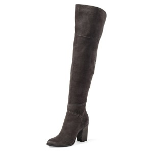 Dark Grey Long Boots Suede Over-the-Knee Chunky Heels