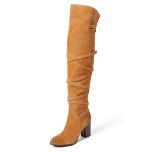 Khaki Long Boots Suede Chunky Heel Strappy Over-the-Knee Boots