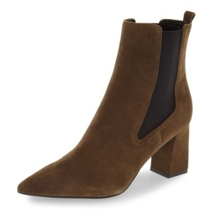 Brown Chelsea Boots Pointy Toe Chunky Heel Suede Shoes