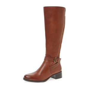 Tan Boots Round Toe Low Heel Textured Vegan Leather Riding Boots