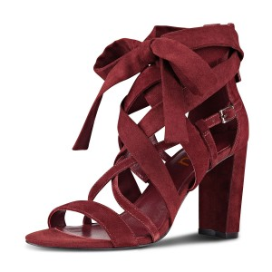 Burgundy Heels Open Toe Suede Strappy Chunky Heel Sandals