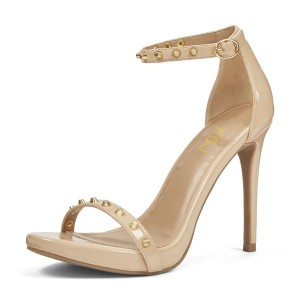 Nude Patent Leather Rivets Stiletto Heel Ankle Strap Sandals