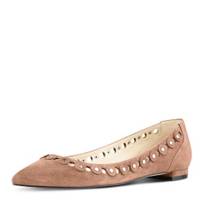 Old Pink Studs Shoes - Chaussures plates à bout pointu en daim - FSJ