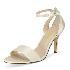 Women's Beige Satin Stiletto Heels Open Toe Ankle Strap Sandals