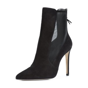 Black Suede and Net Women's Dress Boots Pointy Toe Stiletto Heel Boots