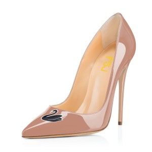 Nude Swan Floral Office Talons Femmes Pointu Toe Stiletto Talons Pompes